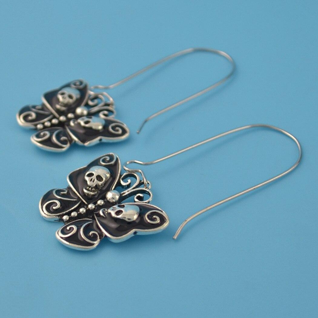 Goth Butterfly Skull Dangle Earrings