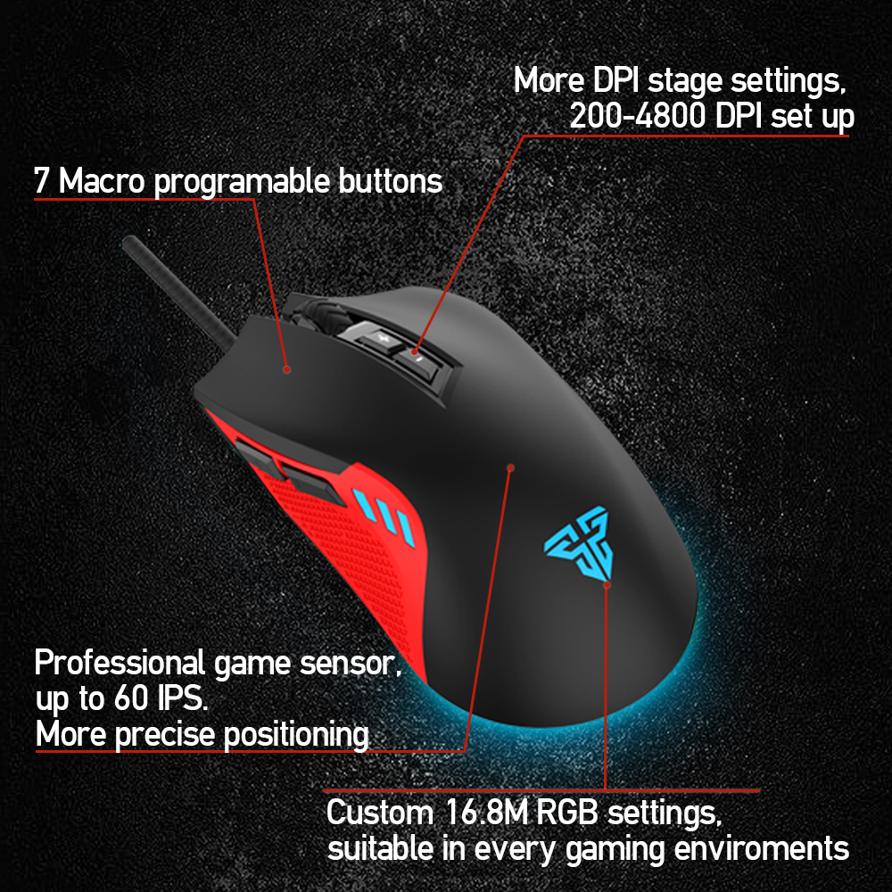 FANTECH X15 USB Optical Wired Gaming Mouse Adjustable 4800 DPI 7D Macro RGB Gaming Mouse For FPS LOL Game Mouse PC