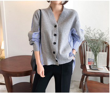 Ailegogo New 2020 Women's Autumn Sweaters Patchwork Srtiped Knitting V-Neck Cardigans Casual Single Breasted Loose Tops 2