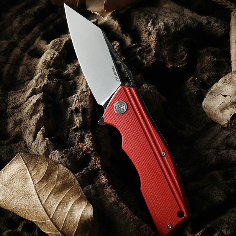 Tools : New Petrified  fish PF929 folding knife black red G10 handle D2 steel blade ball bearing outdoor camping hunting EDC tool knives
