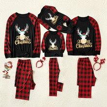 Топы и штаны с рождественским оленем для маленьких мальчиков и девочек рождественские пижамы для всей семьи, одежда для сна для всей семьи
