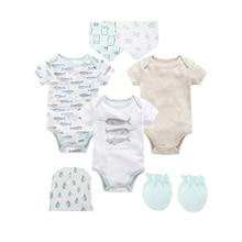 8PCS Baby Boy Bodysuit Clothes Set One Piece Newborn Jumpsuit roupa infantil Clothing with Caps Bibs Gloves Gifts