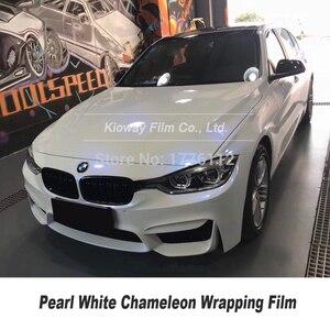 Image 2 - Höchste qualität Glanz Perle Weiß zu Blau VINYL Auto Wrap FILM chameleon wrapping foile Blase Freies qualität Garantie 5m/10m/18m