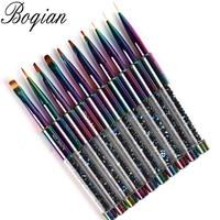 BQAN Rainbow Nail Brush Gel Brush For Manicure Acrylic UV Gel Extension Pen For Nail Polish Painting Drawing Brush Paint Tools