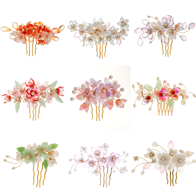 Vintage Gold Tiara Hair Combs For Wedding Headpiece Pearl Flower Handmade Combs Baroque Crystal Veil Women Jewelry Party