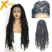X-TRESS perucas sintéticas completas do laço com tranças de crochê afligido locs peruca frontal do laço para perucas trançadas longas pré-arrancadas