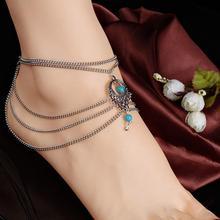 Женщины бохо бирюза бусины кисточки полость ножной браслет босиком лодыжка браслет ювелирные изделия