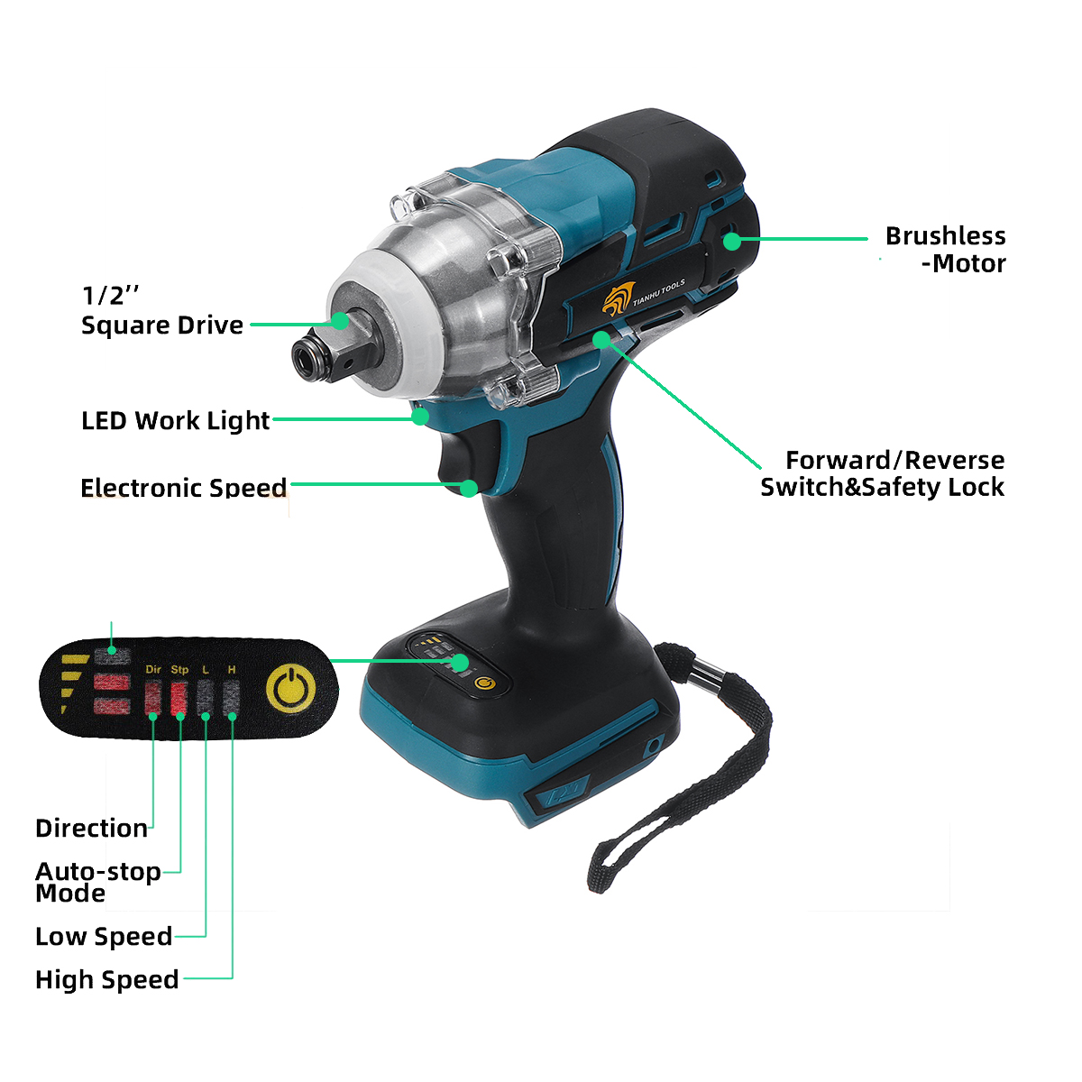 Image 3 - 18V 520Nm Electric Rechargeable Brushless Impact Wrench Cordless 1/2 Socket Wrench Power Tool For Makita Battery DTW285Z-in Electric Wrenches from Tools on