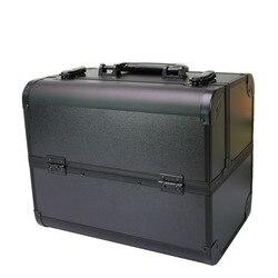 Große Professionelle kosmetische fall hand-gehalten spiegel zwei-schicht aluminium koffer einfügen lagerung nagel box tattoo tasche machen up fall
