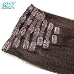 Накладные человеческие волосы BHF на клипсе, 100% натуральные человеческие волосы Remy на всю голову, от 70 до 140 г