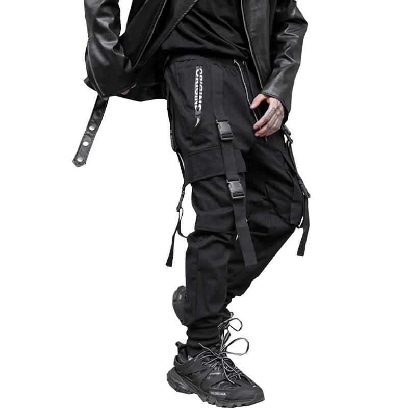2019 Autumn Side Zipper Buckles Men Streetwear Ribbons Pants Men's Jogger Trousers Cotton Hip Hop Sweatpants Pencil Pants LBZ154