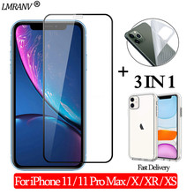 3-in-1 Case + Back Film Glass for iPhone 11 Screen Protector 11 Pro Max Tempered Glass for iPhone-11-Pro XR XS Xs Max 3D Glass 3 in 1 cristal templado for iphone 11 screen protector sticker glass on iphone 11 pro max clear back film for i phone 11 11pro