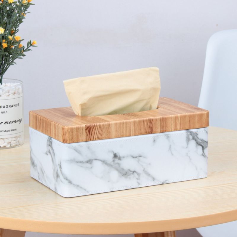Rectangular Marble PU Leather Facial Grain Tissue Box Cover Napkin Holder Paper Towel Dispenser Container for Home Office Decor