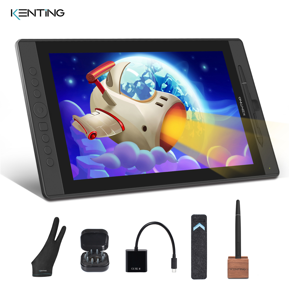 15.6 Inch Graphic Monitor Digital Pen Display Drawing Tablet With Screen IPS HD Kenting KT16 8192 Levels With 7 Hot Keys Dial