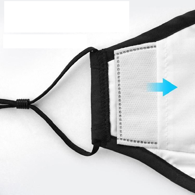 1 Mask+10 PCS Filter Fashion Washable Reusable Mask  PM2.5 Mouth Respirator Masks Cotton Unisex Mouth Muffle Black 4