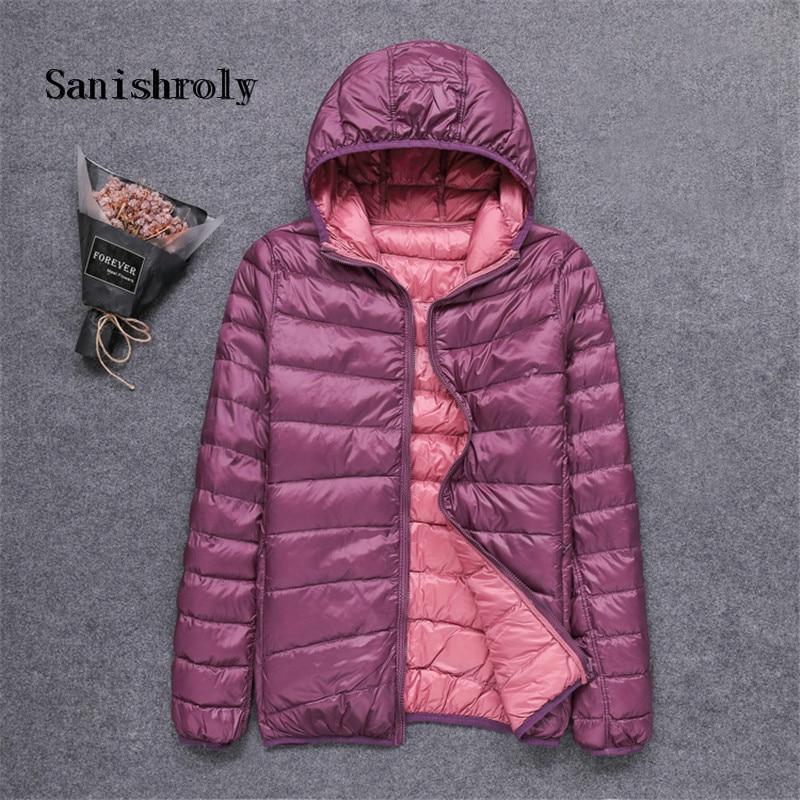 Sanishroly Two Wears 2019 Autumn Winter Female Double Coat White Duck Down Coats Women Ultra Light Down Jacket Short Hooded Outwear Tops Plus Size XL-8XL SE794
