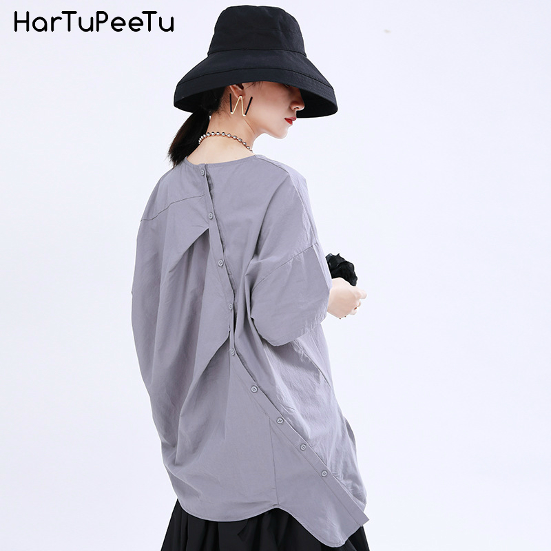 Casual Shirts Women Stylish Cotton Blouse Summer Tops Plain Plus Size Irregular Raglan Sleeve 2020 Front Back Replaceable 2 Wear