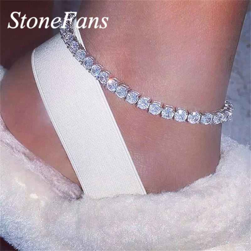 StoneFans Simple Big Rhinestone Ankle Bracelet for Women Shiny Gold Crystal Chain Foot Anklet Jewelry Summer Tennis Anklets Gift
