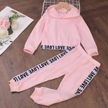 3-7y rosa crianças roupas da menina roupas moletom com capuz + calças carta crianças agasalho para menina moda crianças roupas conjunto 2021