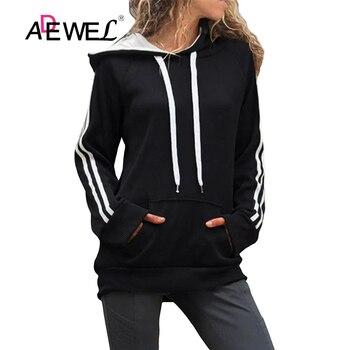 ADEWEL Harajuku negro básico algodón Mujer Sudadera Con Capucha Con bolsillo canguro...