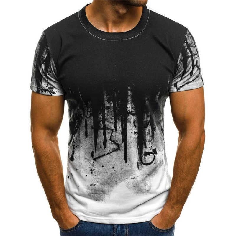Terbaru 3D Dicetak T-shirt Tinta Menggambar Pola Lengan Pendek Musim Panas Kasual Tops Tees Fashion O-Leher Kaos Pria