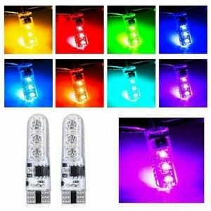 Image 2 - 뜨거운 판매 4PC 5050 W5W 6SMD RGB LED 멀티 컬러 라이트 자동차 웨지 전구 원격 제어