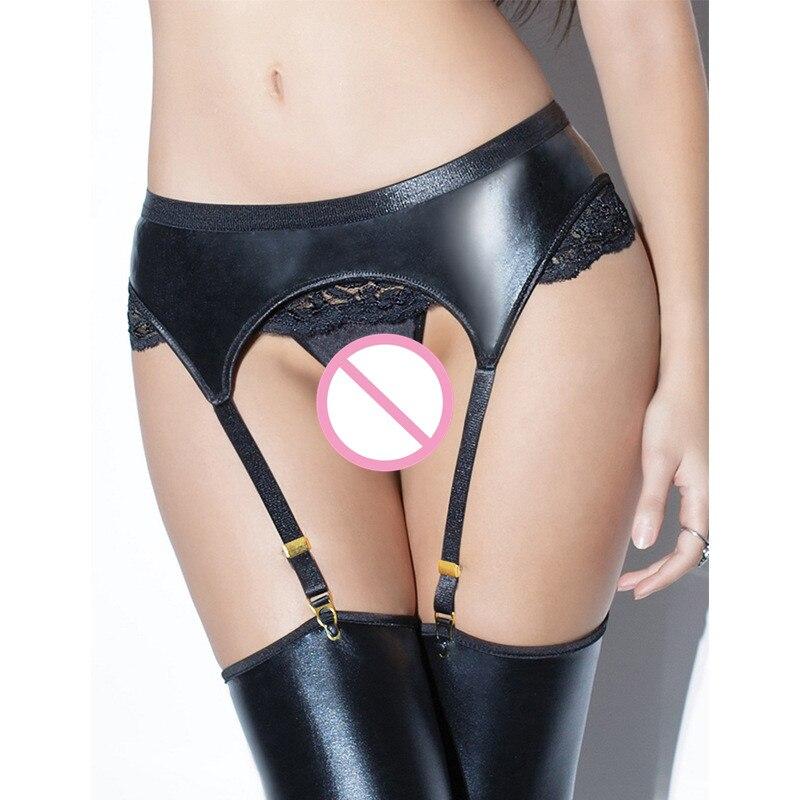 Imitation Leather Lace Black Metal Women/female Sexy Garter Belts For Stockings Suspender Belt Plus 3XL AF0022