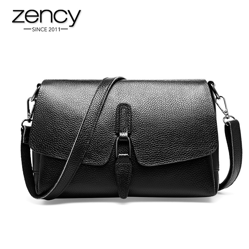 Zency Luxury Women Shoulder Bag Made Of Genuine Leather Daily Casual Crossbody Bags High Quality Small Flap Black Grey Handbag
