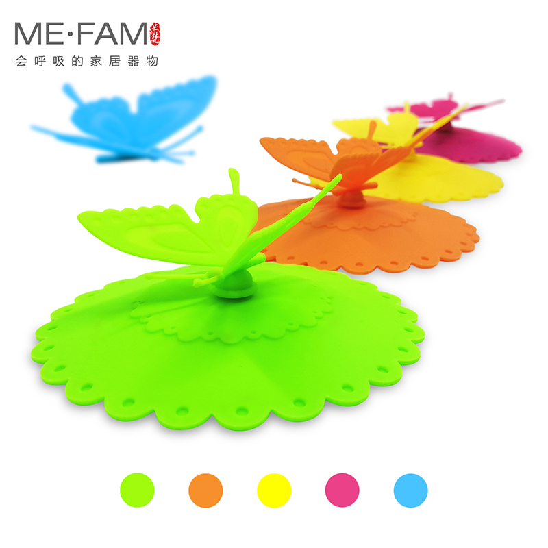ME.FAM New Cute Silicone Butterfly Mug Cover Lace Flowers Lid Seal Anti-dust Glass Ceramic Plastic Tea Cup Cap Reusable Set Of 3