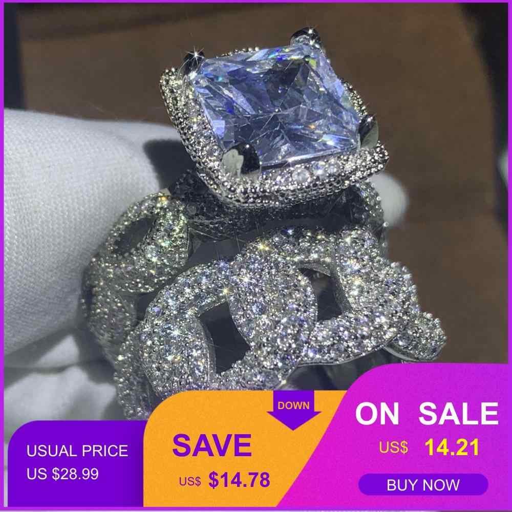 Hip hop 2019 nova venda quente do vintage moda jóias 925 prata esterlina pave branco claro cz feminino casamento anel de noiva conjunto presente