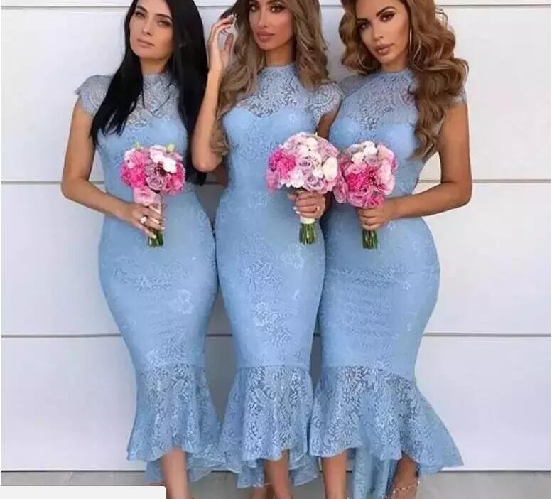 Cap Sleeves High Low Tea Length Full Lace Arabic Wedding Guest Maid Of Honor 2018 Sky Blue Country Mermaid Bridesmaid Dresses