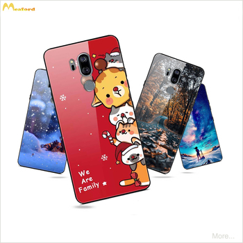 For LG G7 ThinQ Case Tempered Glass Hard Back Cover For LG G7Thinq G710 Global Phone Cases Silicone Frame Christmas painted Skin