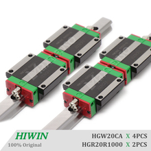 HIWIN HGW20CA 1000mm Linear Guideways Flange Blocks Carriage HGR20 Linear Guide Rail CNC Machine Parts High Precision Accessorie 100% original hiwin 2 pcs hiwin linear guide hgr20 750mm linear rail with 4 pcs hgh20ca linear bearing blocks for cnc parts