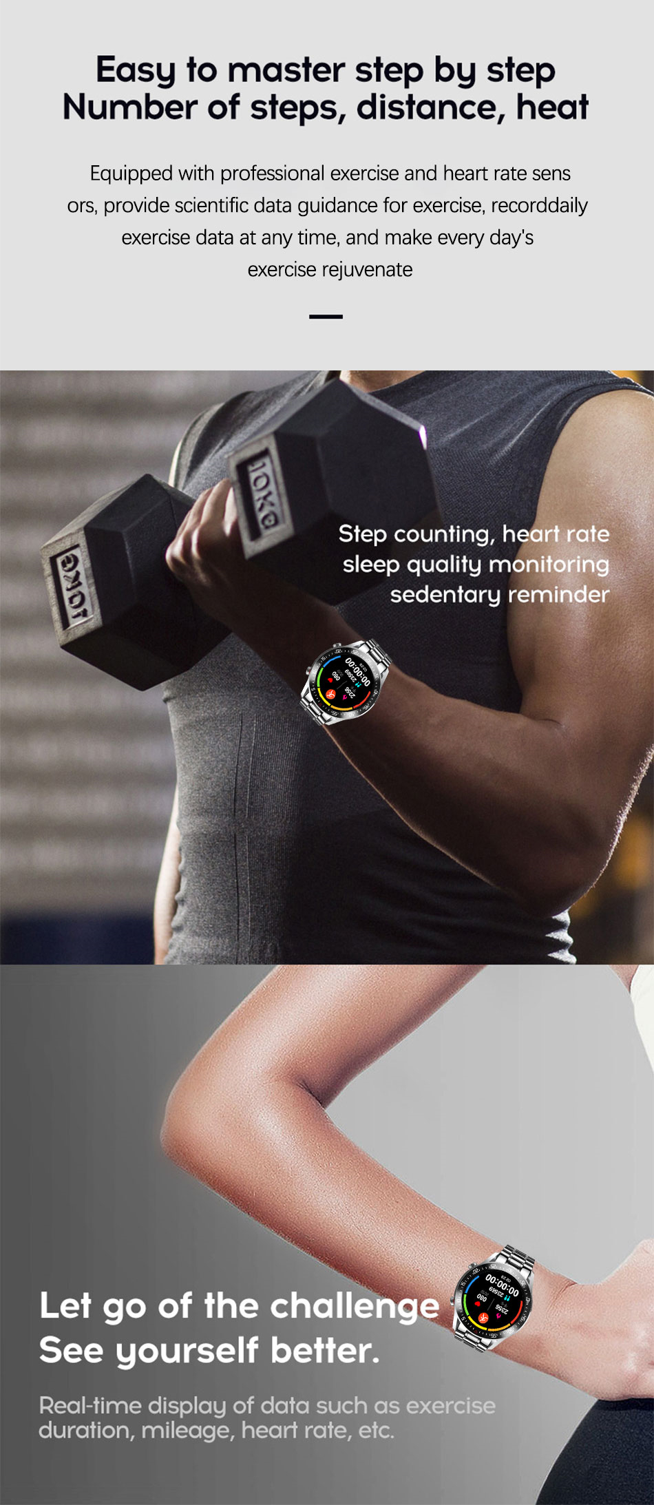 Hef2f277d255345a7942afe690ae0e840A LIGE Smart Watch Men smartwatch LED Full Touch Screen For Android iOS Heart Rate Blood Pressure Monitor Waterproof Fitness Watch