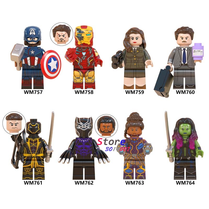 Single Avengers Endgame Captain America Iron Man Howard Carter Black Panther Shuri Gamora Hawkeye Building Blocks Kids Toys