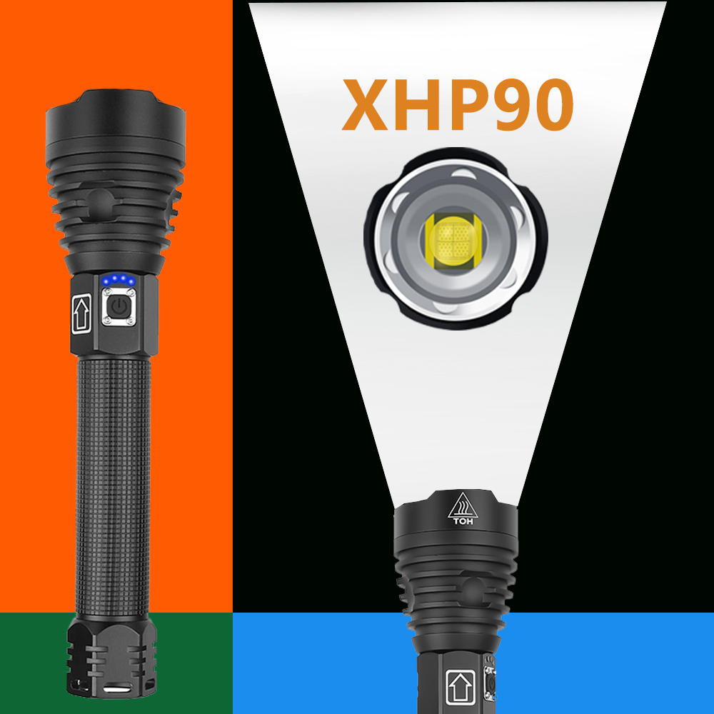 Most Powerful XHP90 LED Flashlight USB Rechargeable ZOOM Torch XHP50 XHP70 Hand Lamp 26650 18650 Battery Flash Light