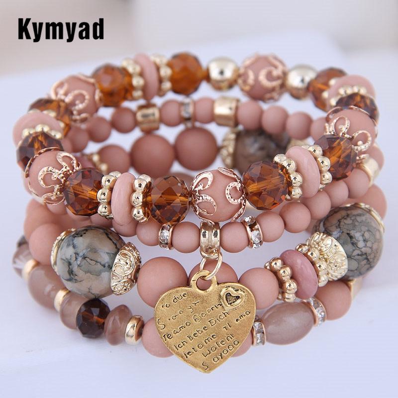 Kymyad (4pcs/set ) Multilayer Bohemia Bracelet Resin Beads Bracelets For Women Bijoux Vintage Heart Charm Bracelet Femme Jewelry
