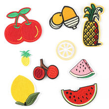 1pc Embroidered Fabric Iron On Patches Children's Wear Backpack Fruits Watermelon Lemon Cherry Ananas Handmade Children Dress(China)