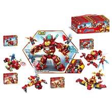 цена на Marvel Avengers Super Heroes Iron Man Hulkbuster MK85 Mech Armor Figures Building Blocks Bricks Toys Gift
