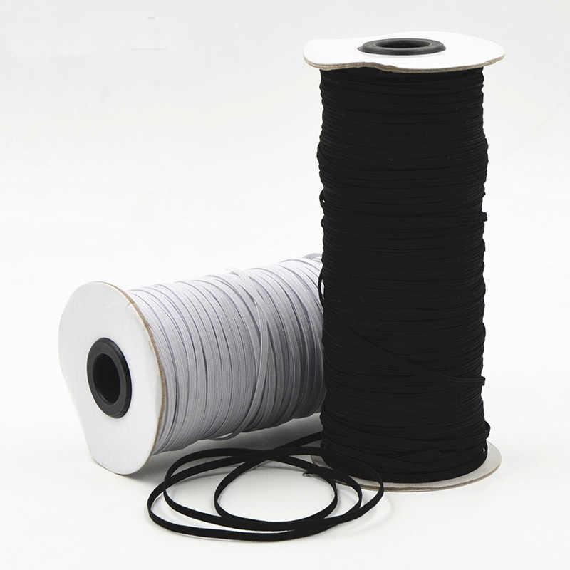 Bandas Elásticas blancas y negras 5/10 metros 3/6/8/10/12mm bandas elásticas de poliéster para Ropa Accesorios de costura 5z