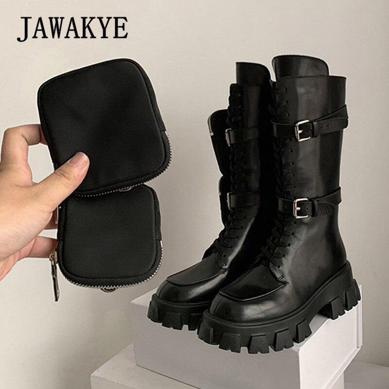 JAWAKYE Nieuwe Dikke bodem mid calf korte laarzen Vrouwen lace up Rits met pocket Lange Laarzen Zwart Winter motorlaarzen vrouw - 3