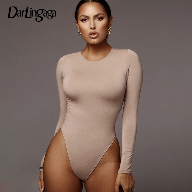 Darlingaga Casual Solid Skinny Long Sleeve Bodysuits Basic 2020 Bodys Bodycon Sheer Bodysuit Women Round Neck Outfits Jumpsuits