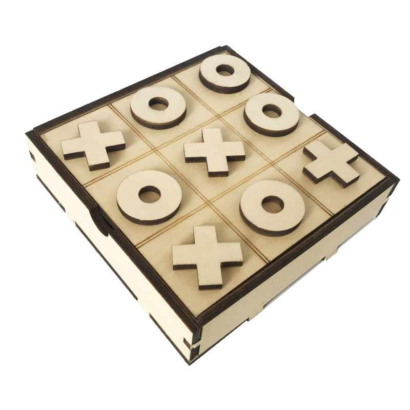 Handmade Tic Tac Toe Classic Board Games Noughts and Crosses Brain Teaser Puzzle Wooden Board Games for Kids & Adults