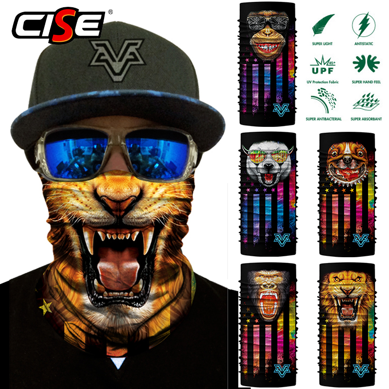 3D Animal Seamless Scarf Neck Gaiters Face Mask Bandana For Motorcycle Bicycle Cycling Outdoor Scarves Sun Windproof Head Shield