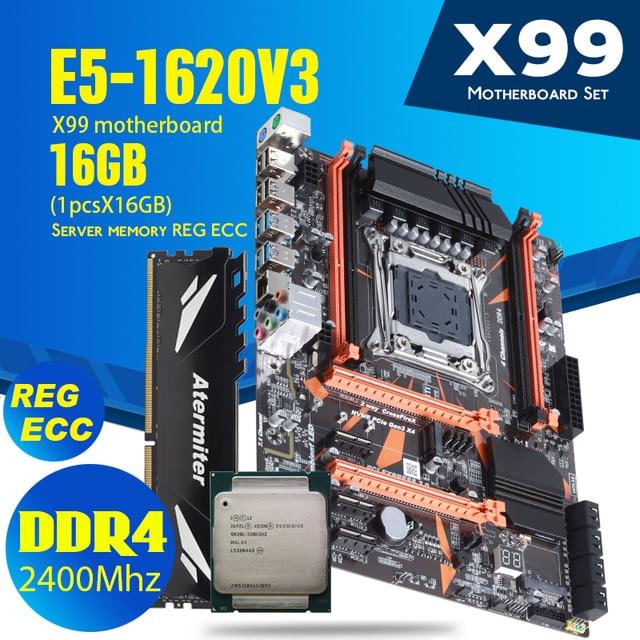 Atermiter X99 D4 DDR4 اللوحة مجموعة مع زيون E5 1620 V3 LGA2011 3 CPU 1 قطعة X 16GB = 16GB 2400MHz DDR4 REG ECC ذاكرة عشوائية