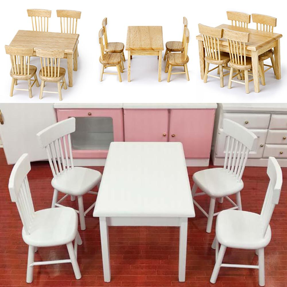 5Pcs Dining Table Chair Model 1:12 Dollhouse Miniature Wooden Furniture Toy Set