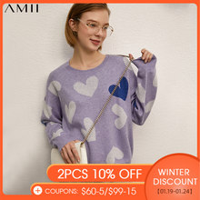 Amiiミニマリズム春の新ファッション女性のセーター因果oneckプリントフルスリーブルーズ女性のプルオーバーは、12130084トップス