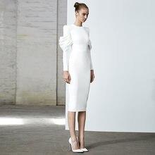 Adyce 2021 Новая Осенняя белая Цвет Бандажное платье с длинным