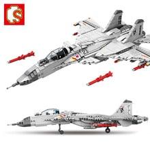 Sembo 1186 pçs militar chinês J-15 transportadora lutador aeronaves voando tubarão modelo bloco de construção avião tijolo para crianças menino brinquedo