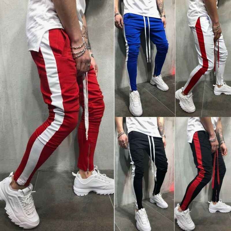 Mannen Sport Broek Side Gestreepte Lange Broek Fitness Workout Trainingspak Joggers Gym Joggingbroek Mode Mannen Lace-up Potlood broek